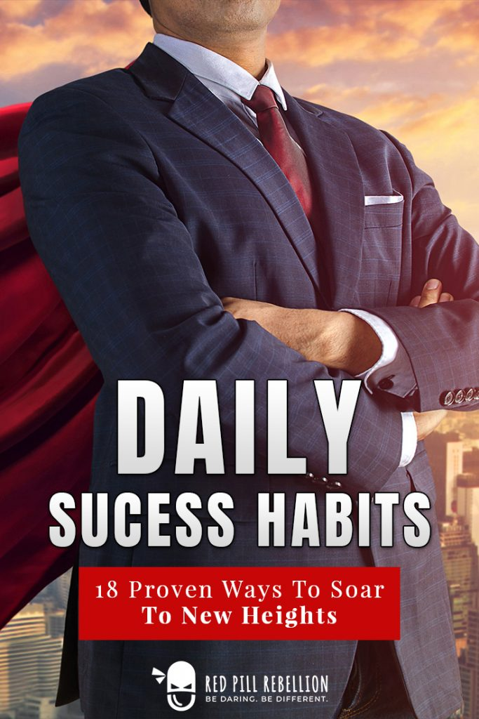 Daily success habits pinterest pin man in suit with cape