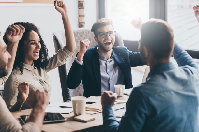 positive people successfully working together