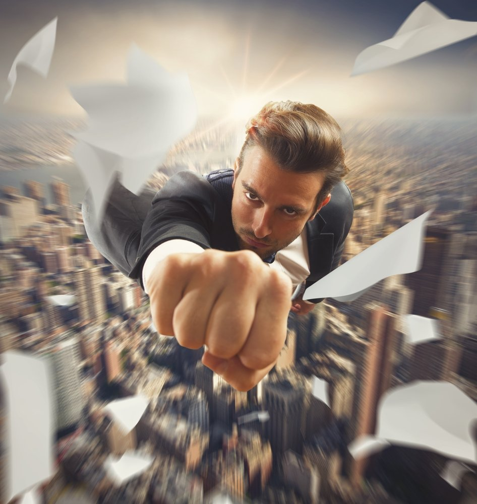 man flying through the sky soaring to new heights using daily success habits