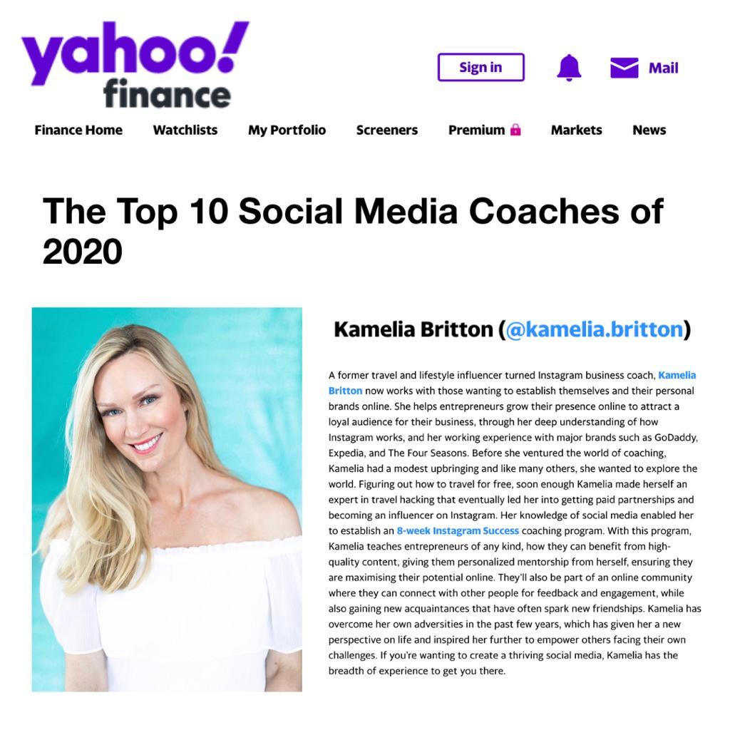 social mediia content creator and coach Kamelia Britton.