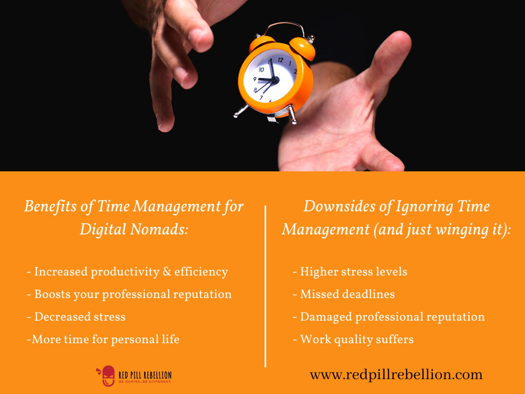 Benefits of time management for digital nomads (Pros and Cons).